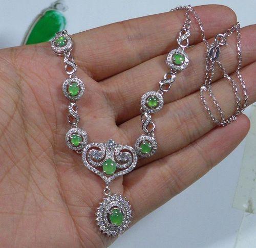 Cert'd Fine Natural A Icy Emerald Jadeite Jade Oval Cabochon S925 Neck