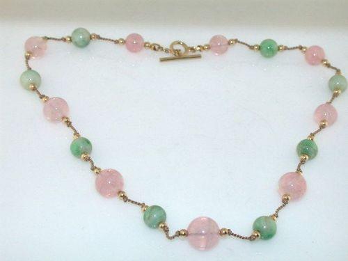 Artisan Pink Quartz & Green Jade 14KT Gold Necklace
