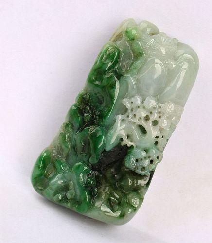 Cert'd Untreated Natural Green Grade A Jade jadeite Pendant landscape
