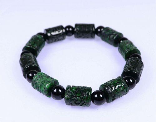 Certified Green Natural A Jade Jadeite Moire 13.710 mm Bead Bracelet 手