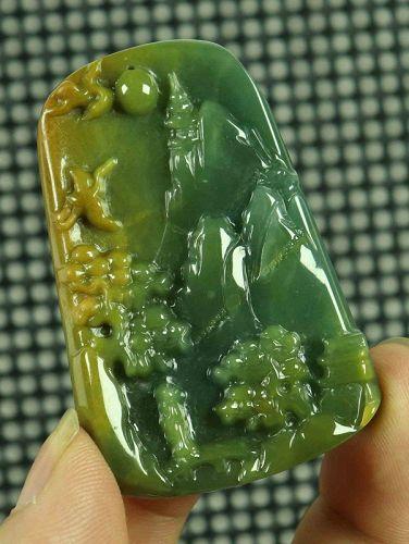 Cert'd Yellow 100% Natural A Jade jadeite Pendant Carved Landscape