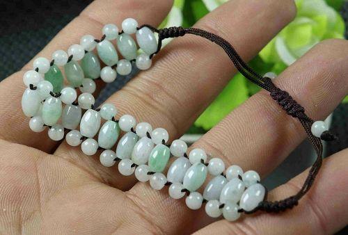Cert'd Green 100% Natural A Jade Jadeite Hand-knitted Bracelet Luck Be