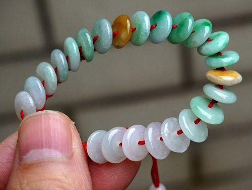 3 Color 100% Natural Untreated Grade A Icy Jade Jadeite Doughnut Brace