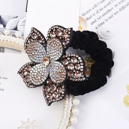 Women Rhinestone Scrunchies Elastic Hair Bands Flower Hair Ring Hair A