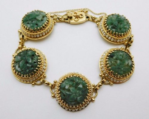 Rare CHINESE Solid 14k Yellow Gold / Carved Jade / Pearls Ladies Brace