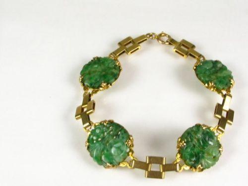 Victorian 10k Yel Gold 4 Natural Carved Floral Jade Gemstone Bracelet
