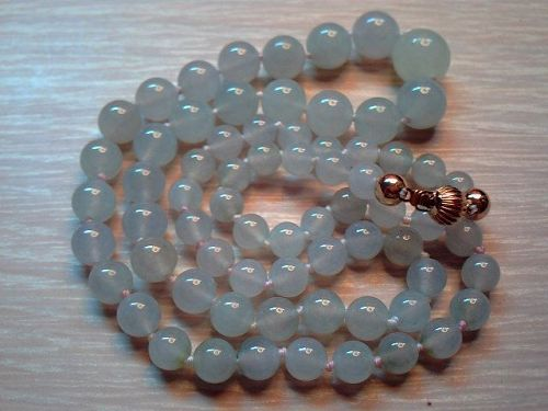 Icy jade beads necklace  14kt gold clasp