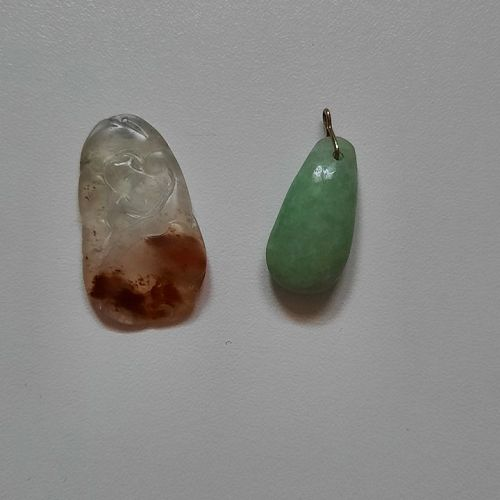 Chinese Carved Translucent & Light Green Jade Jadeite Pendants for Nec