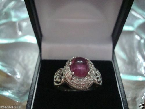 Estate Antique Retro Jewelry Ladys Beautiful Silver Ruby Ring