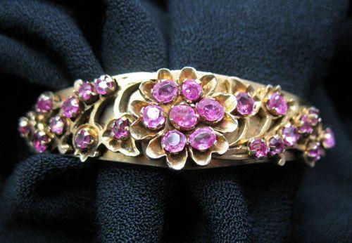 Ruby Bangle Bracelet Gold Over Sterling