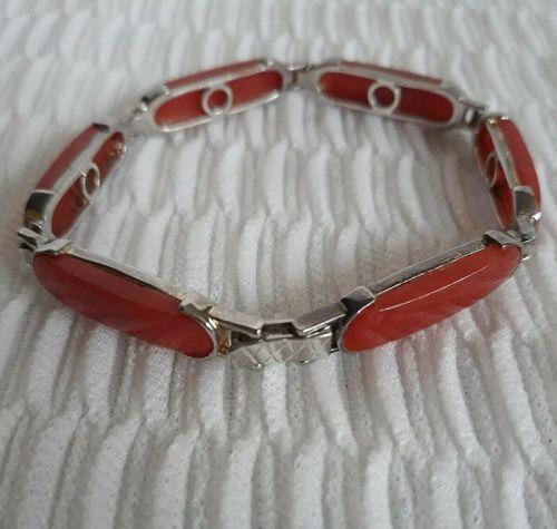 Red Jade Jadeite Sterling Silver 925 GSJ Panel Link Stone Bracelet Des