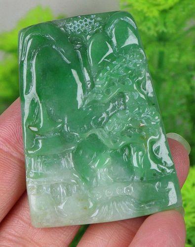 Certified Green 100% Natural Jade Jadeite landscape Pendant 12342