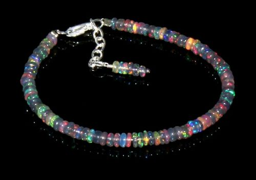 Natural Ethiopian Fire Opal Bracelet Sterling Silver 7.5 Beads