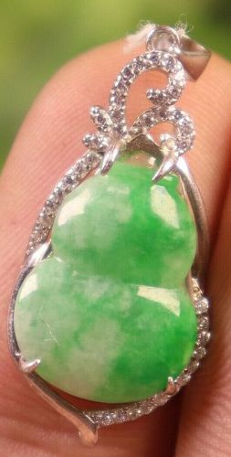30*14*7 mm/2.36 g Cert'd 925 Silver Green Natural A JADE jadeite Penda