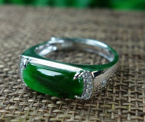 Certified Green 100% natural A jadeite jade Ring S925 Silver 戒指