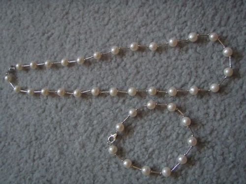 FRESHWATER PEARL NECKLACE BRACELET SET WITH 925 STERLING SILVER