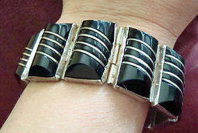 Del Rio Sterling Onyx Bracelet and Earrings Set MEXICO