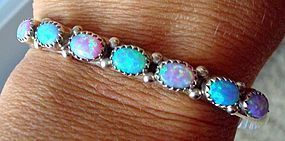 Gorgeous Opal Sterling Silver Cuff Bracelet Signed