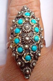 Vintage Sterling Turquoise Ring Marked Taxco MEXICO