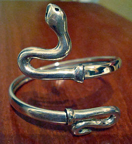 Sterling Silver Snake Flexible Bracelet and Ring Set