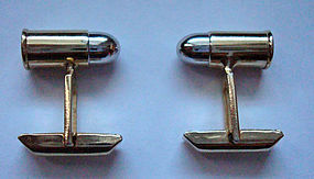Fine Bullet Cuff Links Gold Tone With Silver Tops 3D