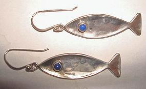Sterling Silver Fish Earrings Lapis Eyes Hallmarked