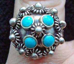 Vintage Mexican Sterling and Turquoise Ring Marked