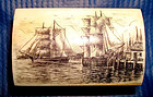 Small Scrimshaw Ivory Box Clipper Ships Artist Signed