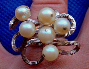 Sterling Pearl Ring Mod Design Hallmarked Unique