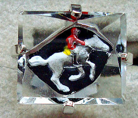 Vintage Horse Racing Crystal Cuff Links Signed
