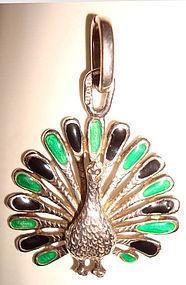 Fine Silver Enamel Peacock Bird Pendant Hallmarked