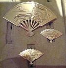 Fine Oriental Silver Fan Set Brooch and Earrings Set