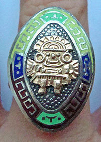 Rare 18K Gold and Sterling Colorful Enamel Ring Mexico