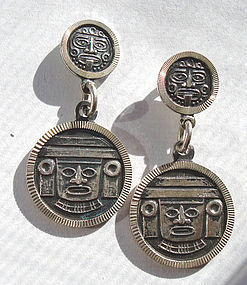 Taxco Mexico Sterling Classic FACE Earrings Fully Hallmarked