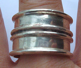 Taxco Mexico Sterling Silver Large Band Ring Hallmarked