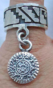 Sterling Silver Mexican Band Ring With Aztec Charm