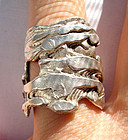 Great Textured Heavy Sterling Silver Ring Hallmarked
