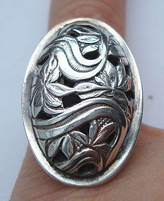 Sterling Floral Foliate Design Ring Maker's Mark BEAU