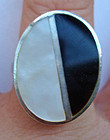 Sterling Mod Onyx Pearl Ring Maker's Mark Hallmarks