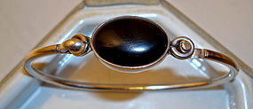Sterling Silver Onyx Mexican Bracelet Taxco Markings