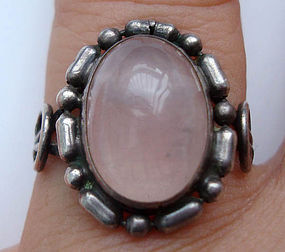 Vintage Silver Decorative Pink Quartz Ring Hallmarked