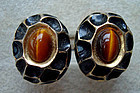 Fine Tiger�s Eye Gold Tone Enamel Cuff Links Hallmarked