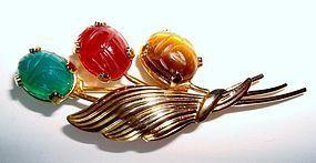 Vintage Scarab Gemstones Brooch Pin Signed