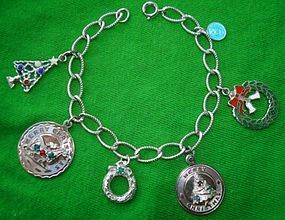 Vintage Sterling Christmas Charm Bracelet 6 Charms
