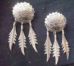 Taxco Mexico Silver Dangle Earrings Maker's Mark