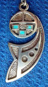 Vintage Mod Geo Silver Enamel Pendant Mod Shape