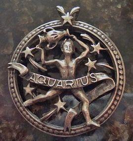 Vintage Sterling Aquaruis Pendant With Maker's Mark