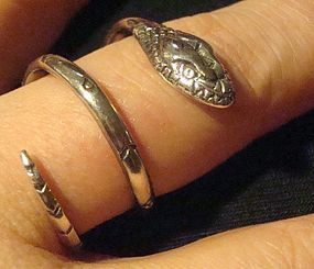 Large Silver Taxco Mexico Snake Ring Delfino All Marks