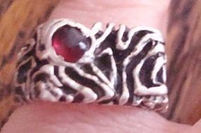 Mod Vintage Silver Ruby Ring Israel - All Hallmarks