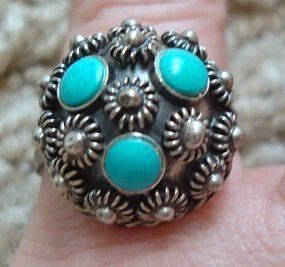 Vintage Silver Turquoise Ring Taxco Maxico All Marks